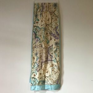 Vintage ECHO Silk World Map Scarf Rectangle